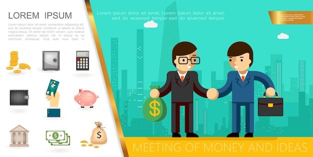 Platte financiële bedrijfsconcept met zakenlieden handen schudden gouden munten veilige rekenmachine hand met betaalkaart spaarvarken geld tas illustratie,