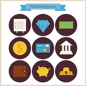 Platte financiën en bankwezen icons set. vectorillustratie. verzameling van verdienen en financiële kleurrijke cirkel iconen. geld en financiën. bankieren en bankieren. bedrijfsconcept