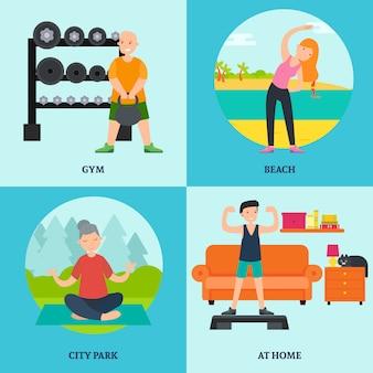 Platte fitness en yoga vierkant concept