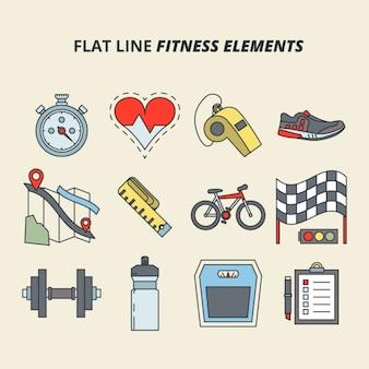 Platte fitness lijn elementen