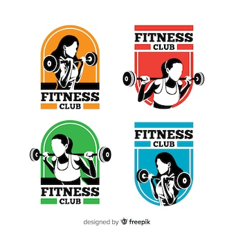 Platte fitness logo sjabloonverzameling