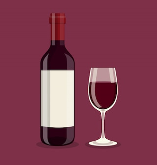 Platte fles en een glas wijn