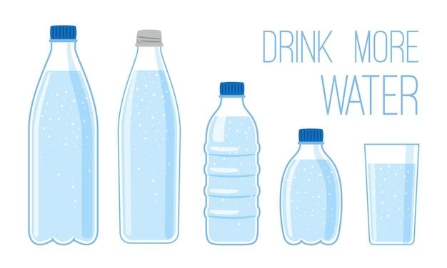 Platte flessen met mineraalwater. cartoon fles set en glas met natuur vloeistoffen, drink meer water concept, vector illustratie aqua balans voor gezond en energie menselijk lichaam