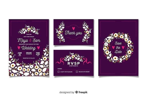 Platte floral bruiloft briefpapier sjabloon