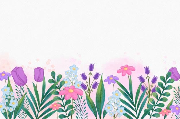 Platte florale achtergrond met aquarel hand getrokken illustratie
