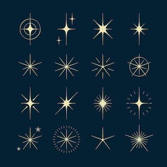 Platte fonkelende sterren collectie