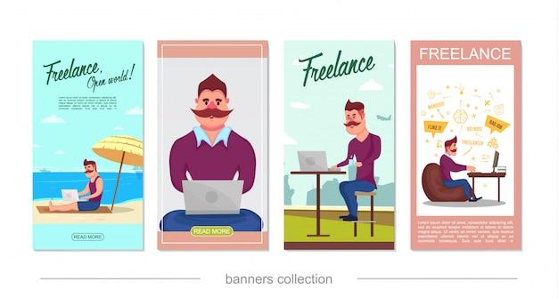 Platte freelance verticale banners met besnorde freelancer die aan tropisch strand thuis werkt en geïsoleerd coworkingcentrum