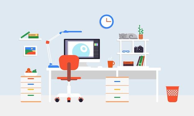 Platte freelancer-werkplek