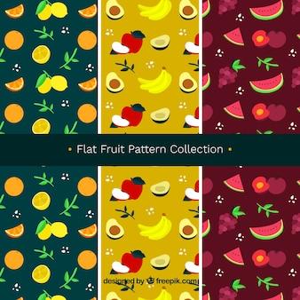 Platte fruitpatroonverzameling
