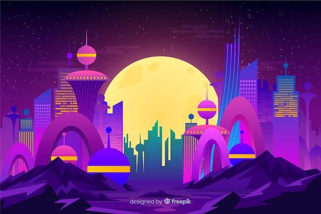Platte futuristische nacht stad achtergrond