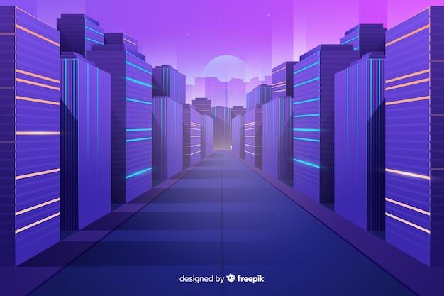 Platte futuristische stad achtergrond