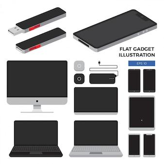 Platte gadget illustratie set