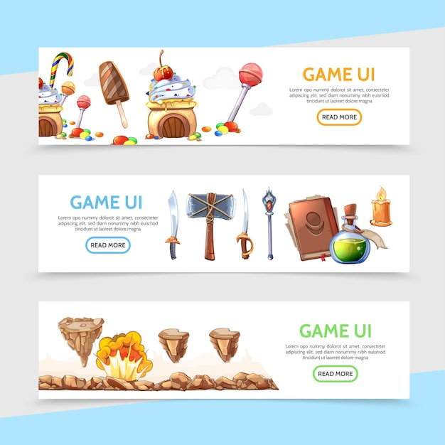 Platte game-ontwerp horizontale banners