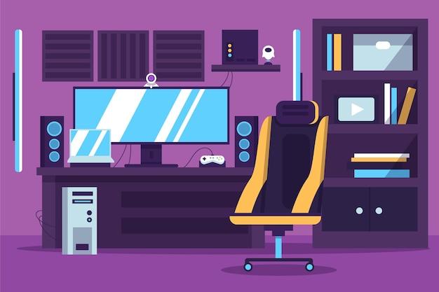 Platte gamer kamer illustratie