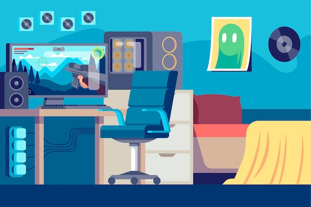 Platte gamer kamer illustratie