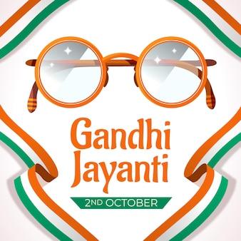 Platte gandhi jayanti achtergrond met bril