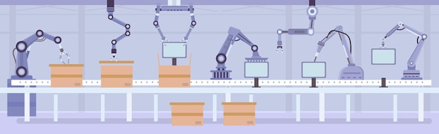 Platte geautomatiseerde robotarmen op fabrieksassemblagelijn. fabricage transportband met producten en dozen. industrie automatisering machine vector concept