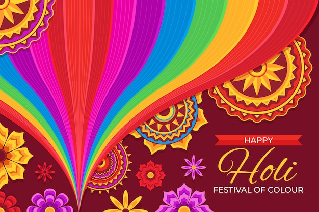 Platte gedetailleerde holi festival illustratie