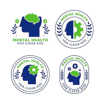 Platte geestelijke gezondheid logo-collectie