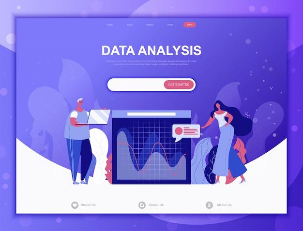 Platte gegevensanalyse concept, landingspagina websjabloon