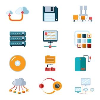 Platte gegevenspictogrammen. kleurrijke symbolen, databaseverwerking, uitzendinformatie. vector illustratie