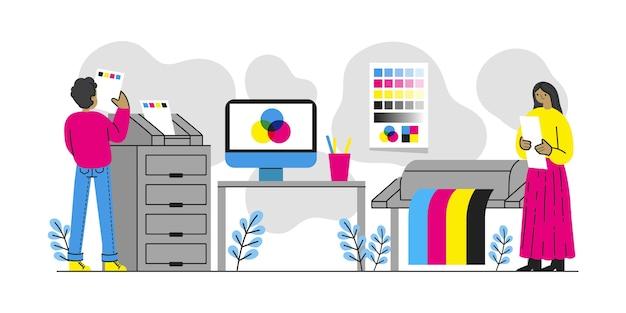 Platte geïllustreerde grafische industrie