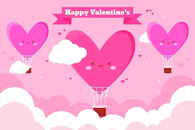 Platte geïllustreerde valentijnsdag achtergrond