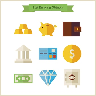 Platte geld- en bankobjecten instellen. vectorillustratie. verzameling van verdien- en financiële objecten geïsoleerd over wit. geld en financiën. bankieren en bankieren. bedrijfsconcept