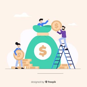 Platte geldbesparende concept achtergrond