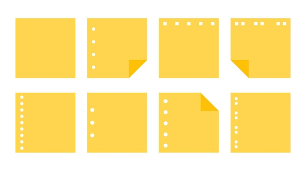 Platte gele papieren sticker set verschillende vormen leeg kladblok van herinnering berichten planner sjabloon lege notitie papier sticker met perforatie kantoorbenodigdheden geïsoleerd op witte vectorillustratie