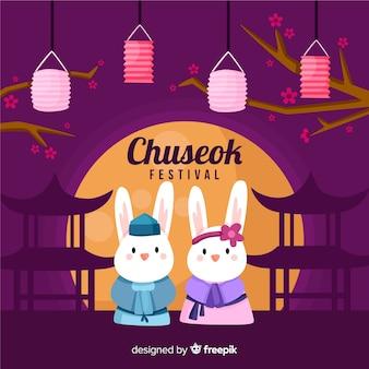 Platte gelukkig chuseok festival achtergrond