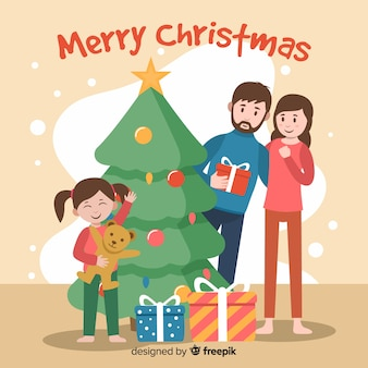 Platte gelukkig meisje kerst achtergrond