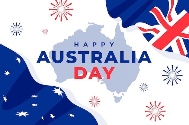 Platte gelukkige australië dag illustratie