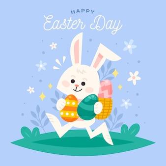 Platte gelukkige paasdag met konijn