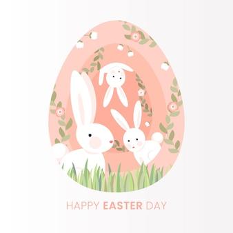 Platte gelukkige paasdag met konijnen