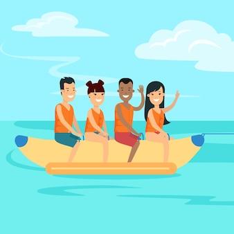 Platte gelukkige tieners rijden op banaan vectorillustratie water sport en activiteit concept young p