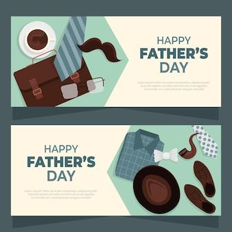 Platte gelukkige vaderdag banners instellen