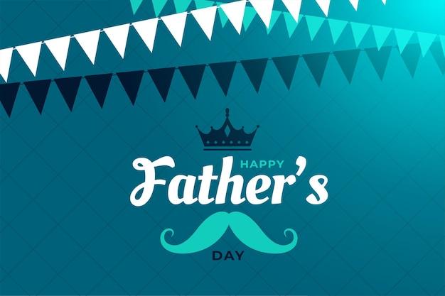Platte gelukkige vaders dag wenskaart ontwerp