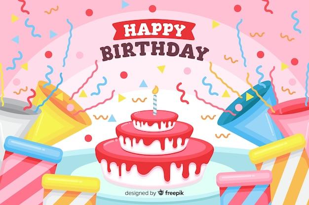 Platte gelukkige verjaardag achtergrond met cake en geschenken