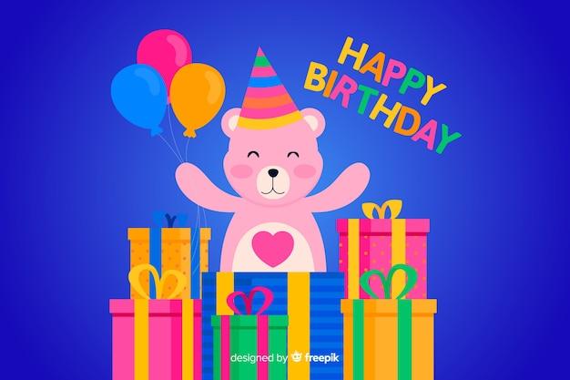 Platte gelukkige verjaardag achtergrond met teddybeer