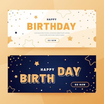 Platte gelukkige verjaardag banners ontwerp