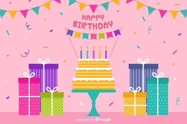 Platte gelukkige verjaardag partij achtergrond