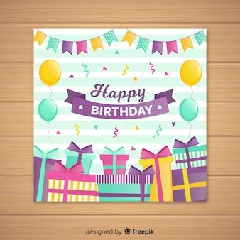 Platte gelukkige verjaardag uitnodigingskaart