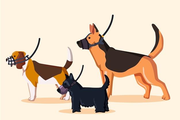 Platte gemuilkorfde dieren geïllustreerde set