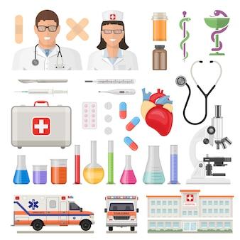 Platte geneeskunde icon set