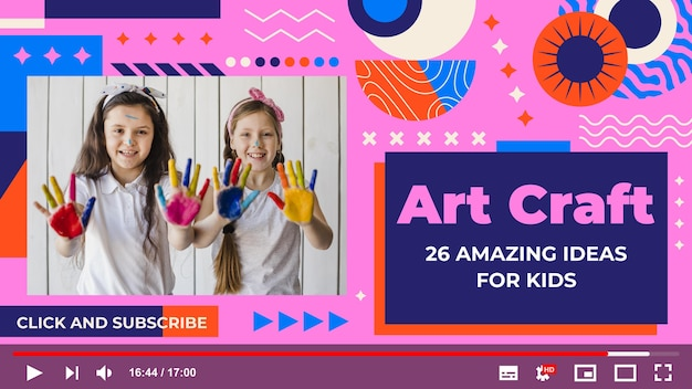 Platte geometrische ambachtelijke youtube-miniatuursjabloon