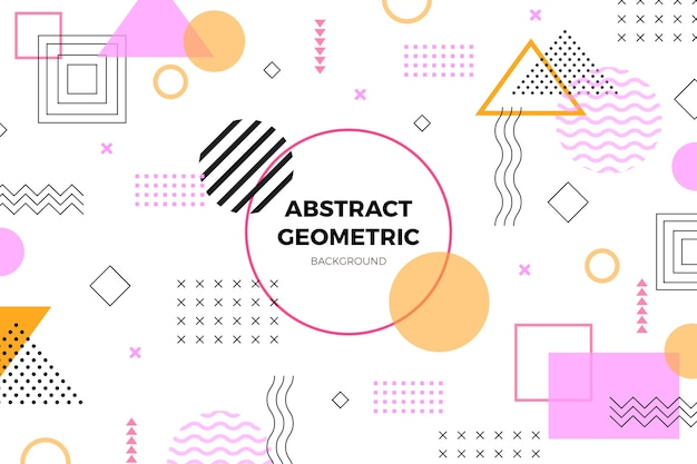 Platte geometrische baby roze vormen achtergrond
