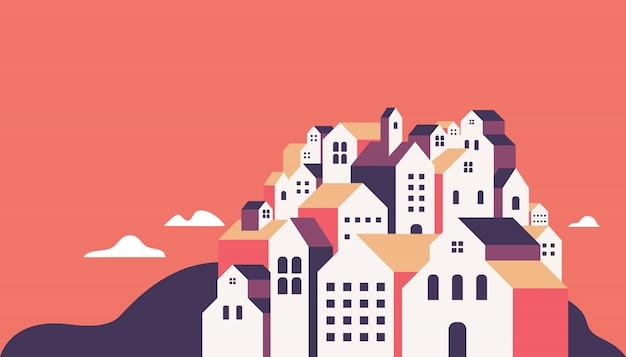 Platte geometrische gebouwen.
