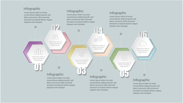 Platte geometrische infographic sjabloon met opties voor workflow-layout, diagram, nummeropties, opwaarderingsopties,