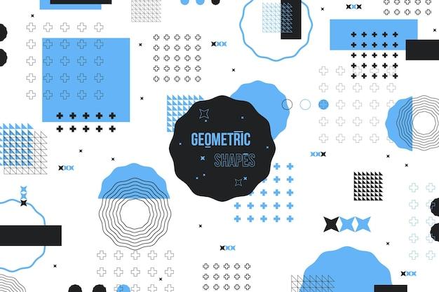 Platte geometrische vormen achtergrond en blauwe memphis effect